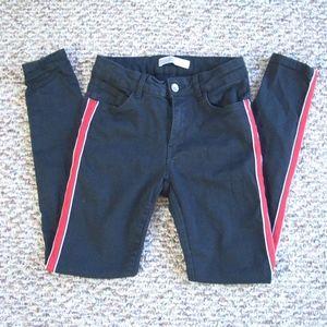 Zara black super skinny jeans with side stripe 4